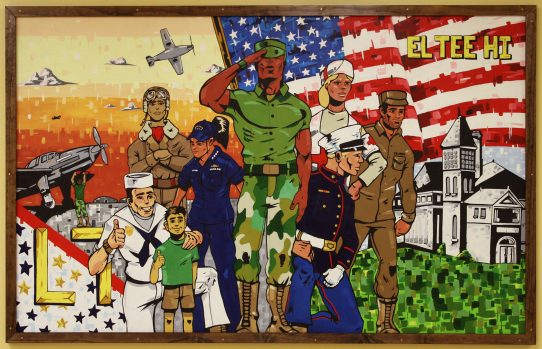 A centerpiece of the Wall of Honor is a mural by LTHS graduate Noah Denten, representing the different service branches and references to the school's contributions to war efforts in the past. (Provided)