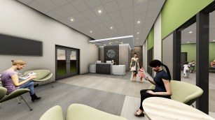 While the architect is still working up drawings for the new rec center, a conceptual rendering shows a reception/desk area just inside the east entrance doors (above) at 43 E. Quincy St., with a multipurpose room immediately west of that area. (Photo Provided)
