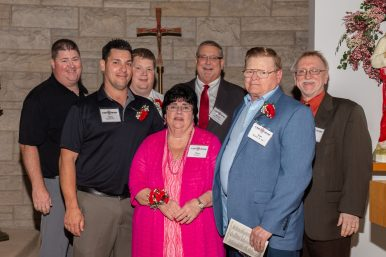 St. Joseph High School honored the Morrill family of Brookfield with a St. Joseph the Worker Award during the school's Charger Club Investor Appreciation Event in October. Pictured above are (back row, from left) Dan Morrill, Tom Morrill Jr., St. Joseph President/Principal Ronald Hoover, Alumni Relations Director Tony Quattrochi, (front row, from left) Mark Morrill, Mary Morrill and Thomas Morrill Sr.