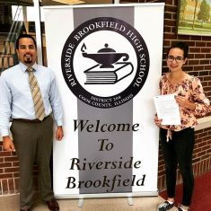 Lindsey DeJesus (right) with RBHS Principal Hector Freytas