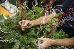 Shop owner Chris Borzym, puts together one of the baskets that will be displayed along the street outside on Friday, Nov. 20, at Christopher Mark Fine Flowers on Grand Boulevard in Brookfield. (Alex Rogals/Staff Photographer)