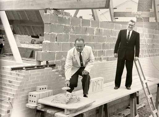 Robert North (left), chairman of the church's building committee, and pastor Rev. John C. Talbot prepare to lay the cornerstone of North Riverside Community Presbyterian Church on Aug. 18, 1957. (PROVIDED)