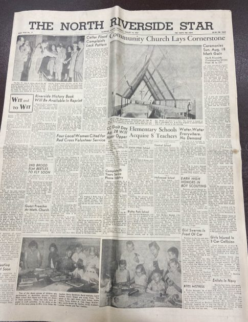The dedication of the church in August 1957 was a front page story in the North Riverside Star newspaper, which was published by the Riverside News. (PROVIDED)