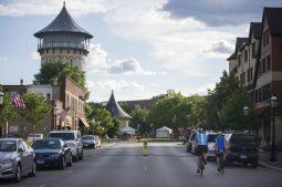 Cyclists ride their bikes down Burlington Street on June 25, 2020, in Riverside. (Alex Rogals/Staff Photographer)