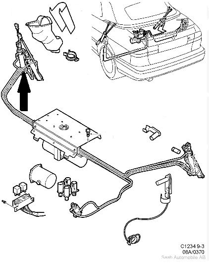 Hydraulic roof/hood ram,top for Saab 9.3 Convertible 1998