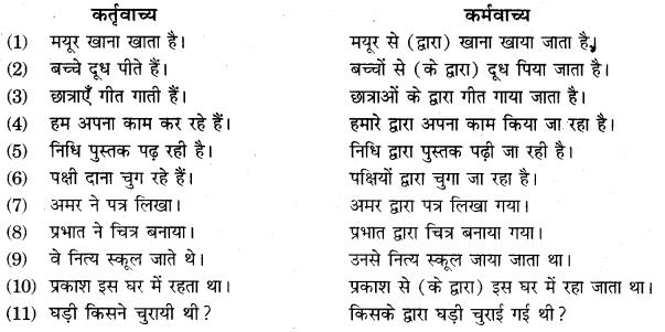 RBSE Class 10 Hindi व्याकरण वाच्य - 1
