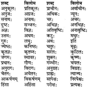 RBSE Class 7 Sanskrit व्याकरण पर्याय, समानार्थक एवं विलोम शब्दः 4