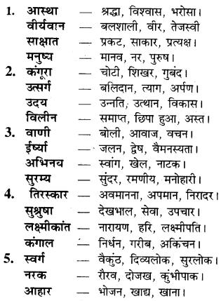 RBSE Class 9 Hindi व्याकरण पर्यायवाची शब्द 5