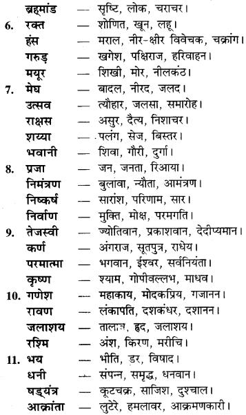 RBSE Class 9 Hindi व्याकरण पर्यायवाची शब्द 6