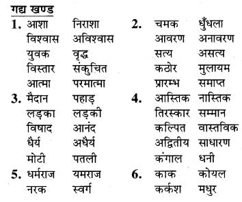RBSE Class 9 Hindi व्याकरण विलोम या विपरीतार्थक शब्द 4