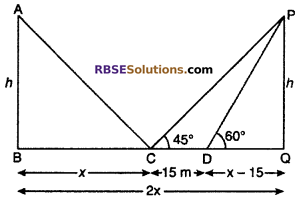 RBSE Solutions for Class 10 Maths Chapter 8 Height and Distance Additional Questions 25