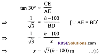 RBSE Solutions for Class 10 Maths Chapter 8 Height and Distance Additional Questions 45