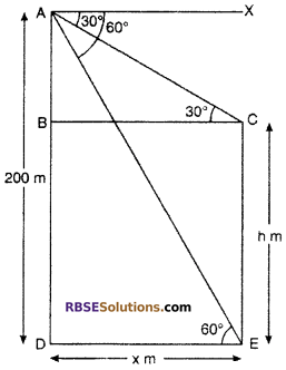 RBSE Solutions for Class 10 Maths Chapter 8 Height and Distance Additional Questions 48