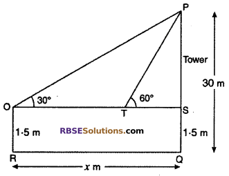 RBSE Solutions for Class 10 Maths Chapter 8 Height and Distance Miscellaneous Exercise 25