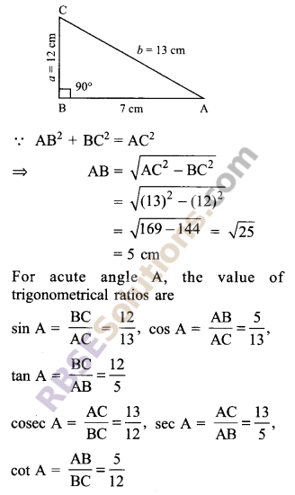 RBSE Solutions for Class 9 Maths Chapter 14 Trigonometric Ratios of Acute Angles Ex 14.1 - 3