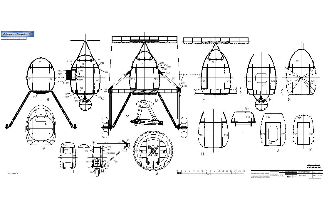 RC Airplane Plans of the Fairey Swordfish.1/6 Full Size.