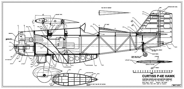 RC Airplane Plans of a 1/4 scale Curtiss P-6E Hawk