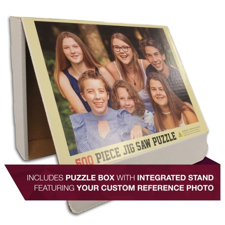 Custom Picture Puzzle Puzzle Box with Integrated Stand