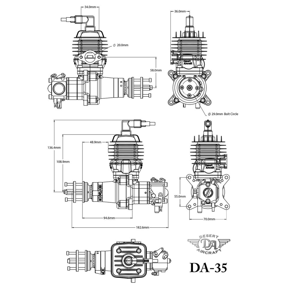medium resolution of desert aircraft 35cc single petrol engine da 35
