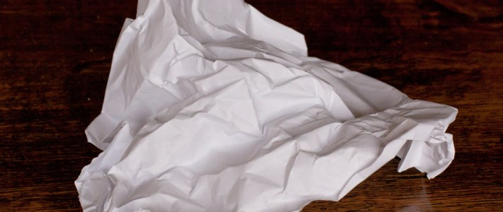 Paper crumpled ready for drawing