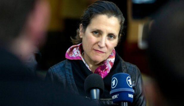 وزيرة الخارجيّة الكنديّة كريستيا فريلاند/Virginia Mayo/Associated Press)