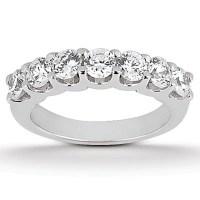 Diamond Shared U Prong Setting Wedding Ring Band 14K White ...