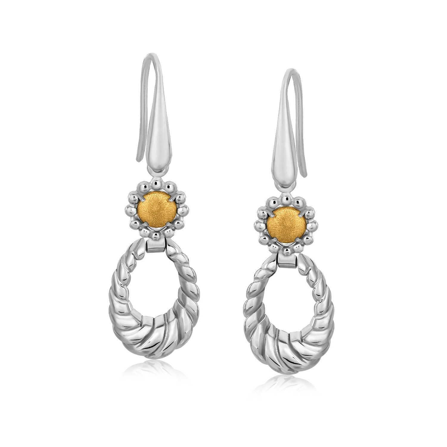 Open Oval Cable Style Drop Earrings In 18k Yellow Gold And