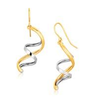 Fancy Polished Double Helix Dangling Earrings in 14K Two ...
