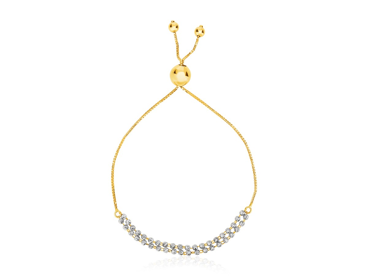 14k Two Tone Yellow And White Gold Adjustable Textured