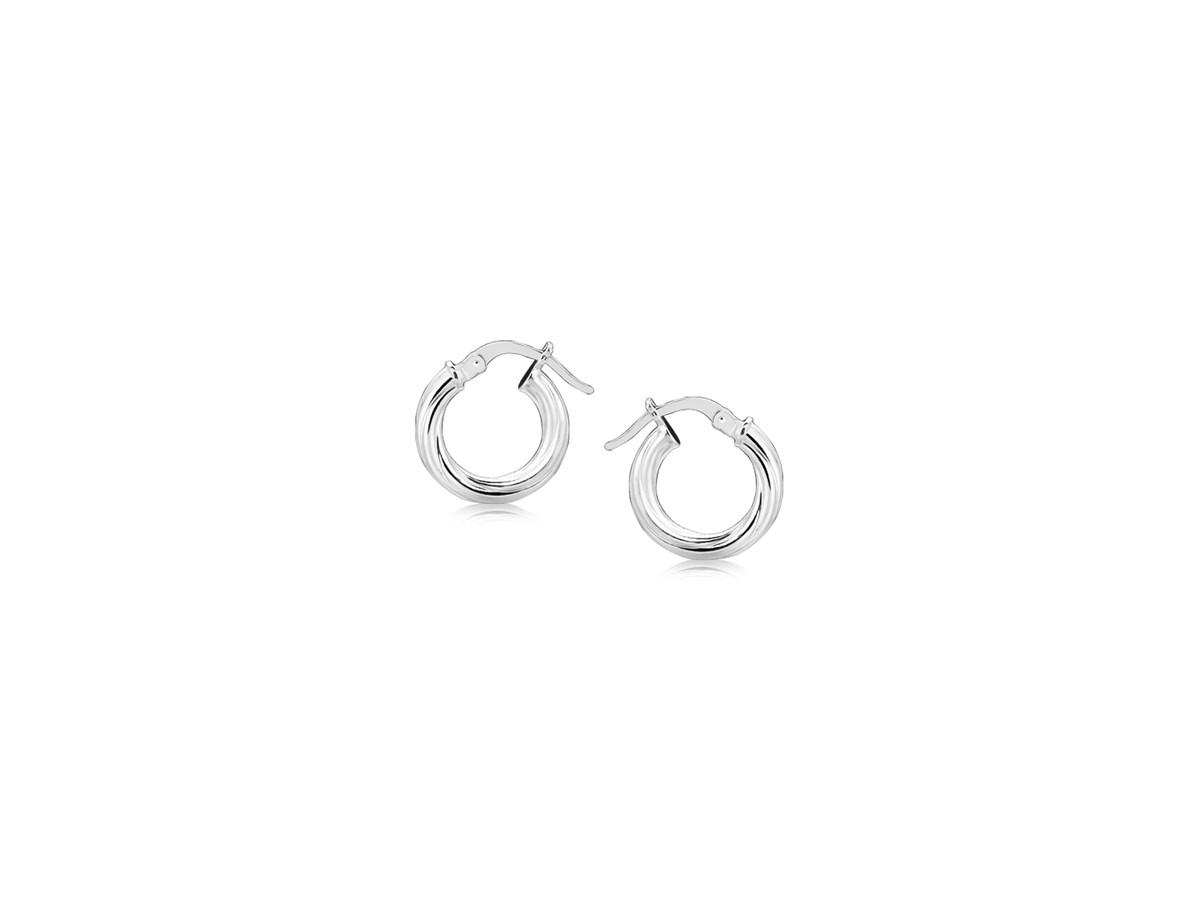 Small Twisted Motif Hoop Earrings in Sterling Silver