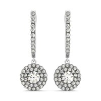 Round Double Halo Style Diamond Drop Earrings in 14k White