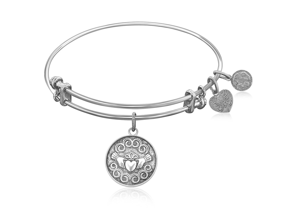 Expandable White Tone Brass Bangle with The Claddagh Love