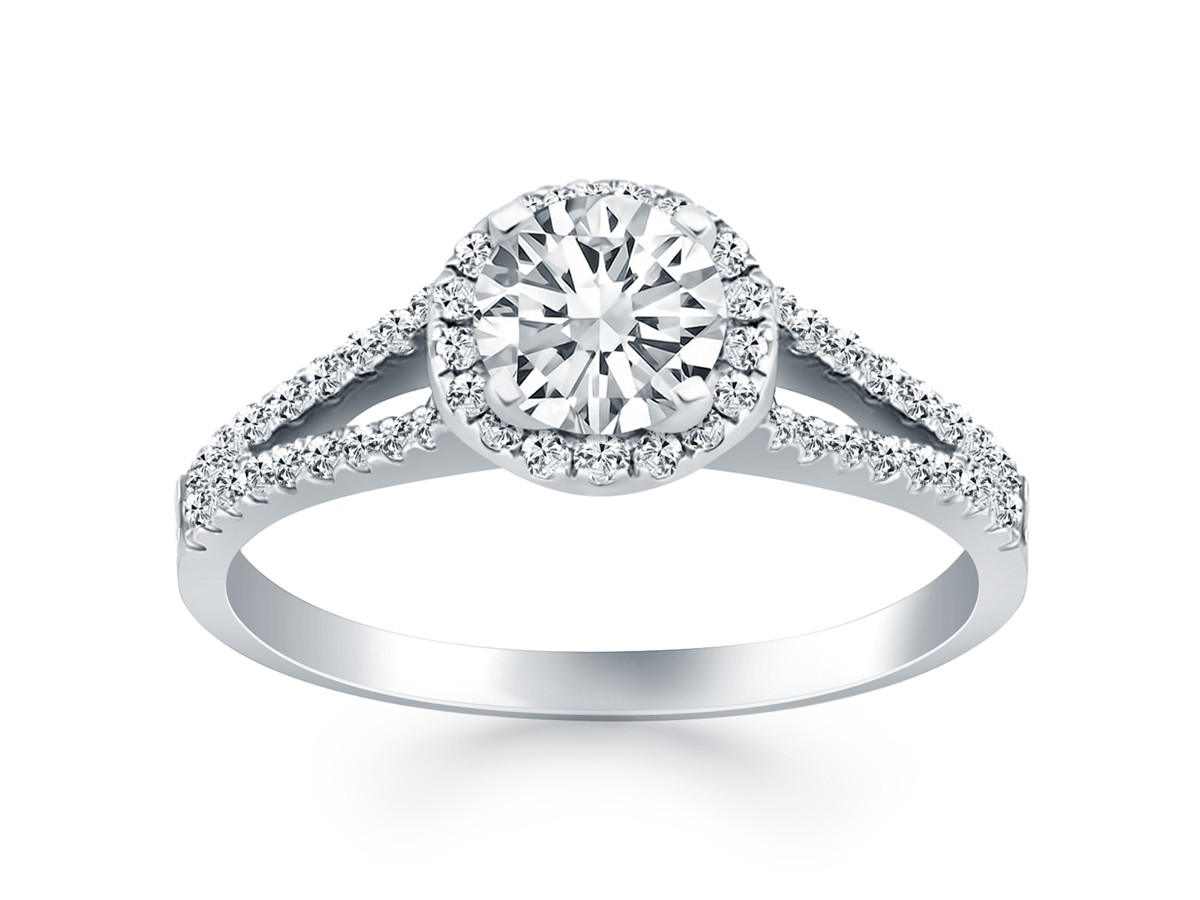 Diamond Halo Split Shank Engagement Ring Mounting In 14k