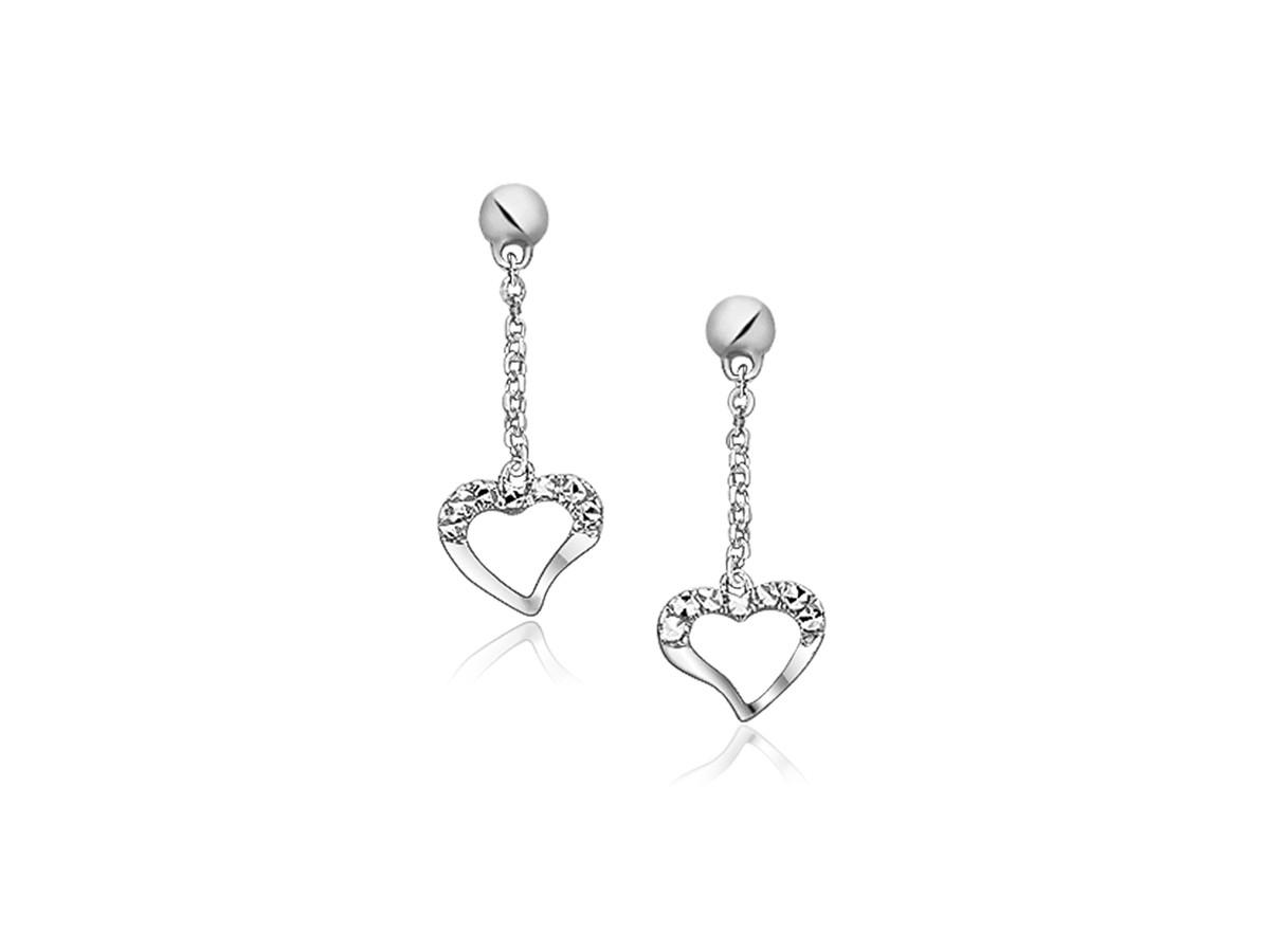 Sparkle Texture Heart Dangle Earrings in 14k White Gold