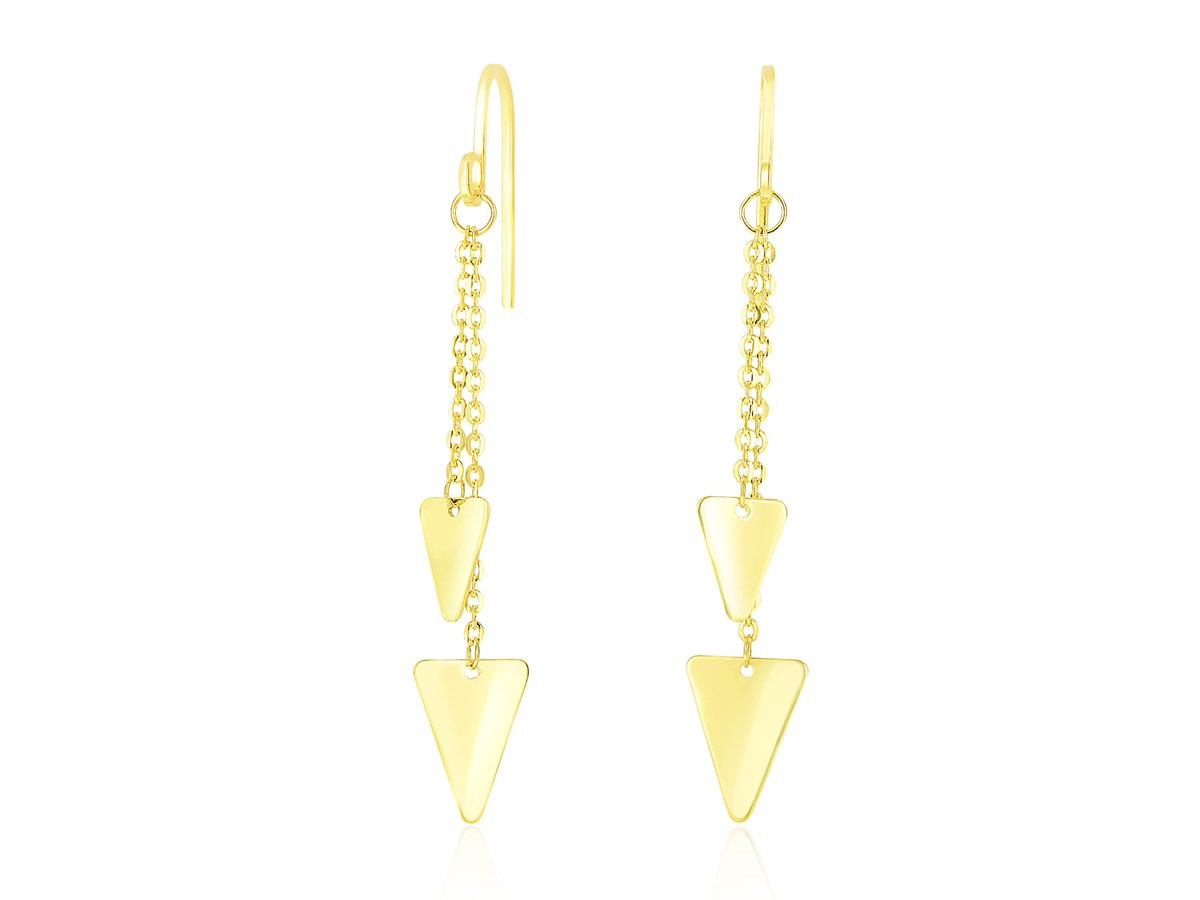 Triangle And Chain Dangling Earrings In 14k Yellow Gold
