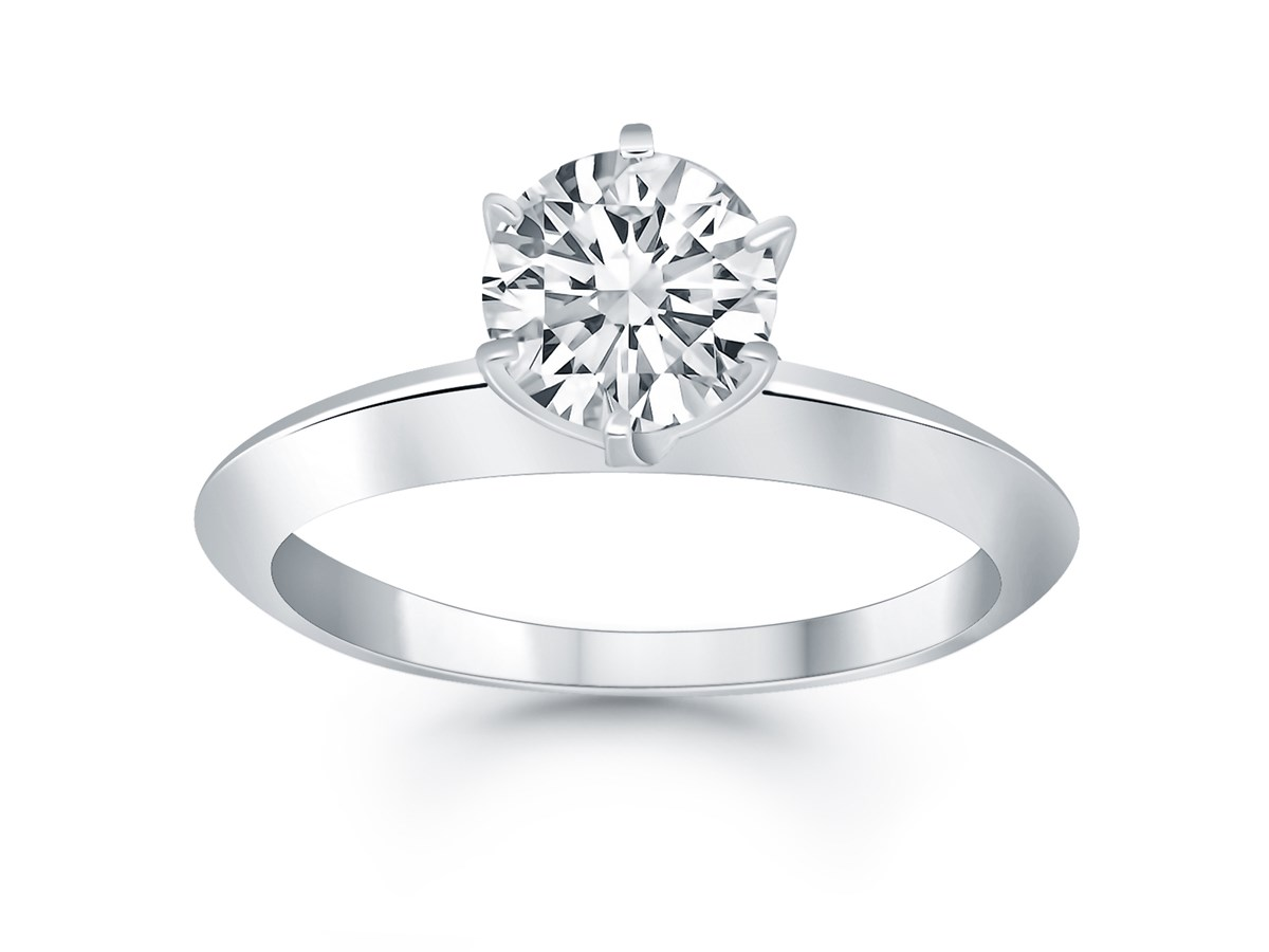 Knife Edge Solitaire Engagement Ring In 14k White Gold