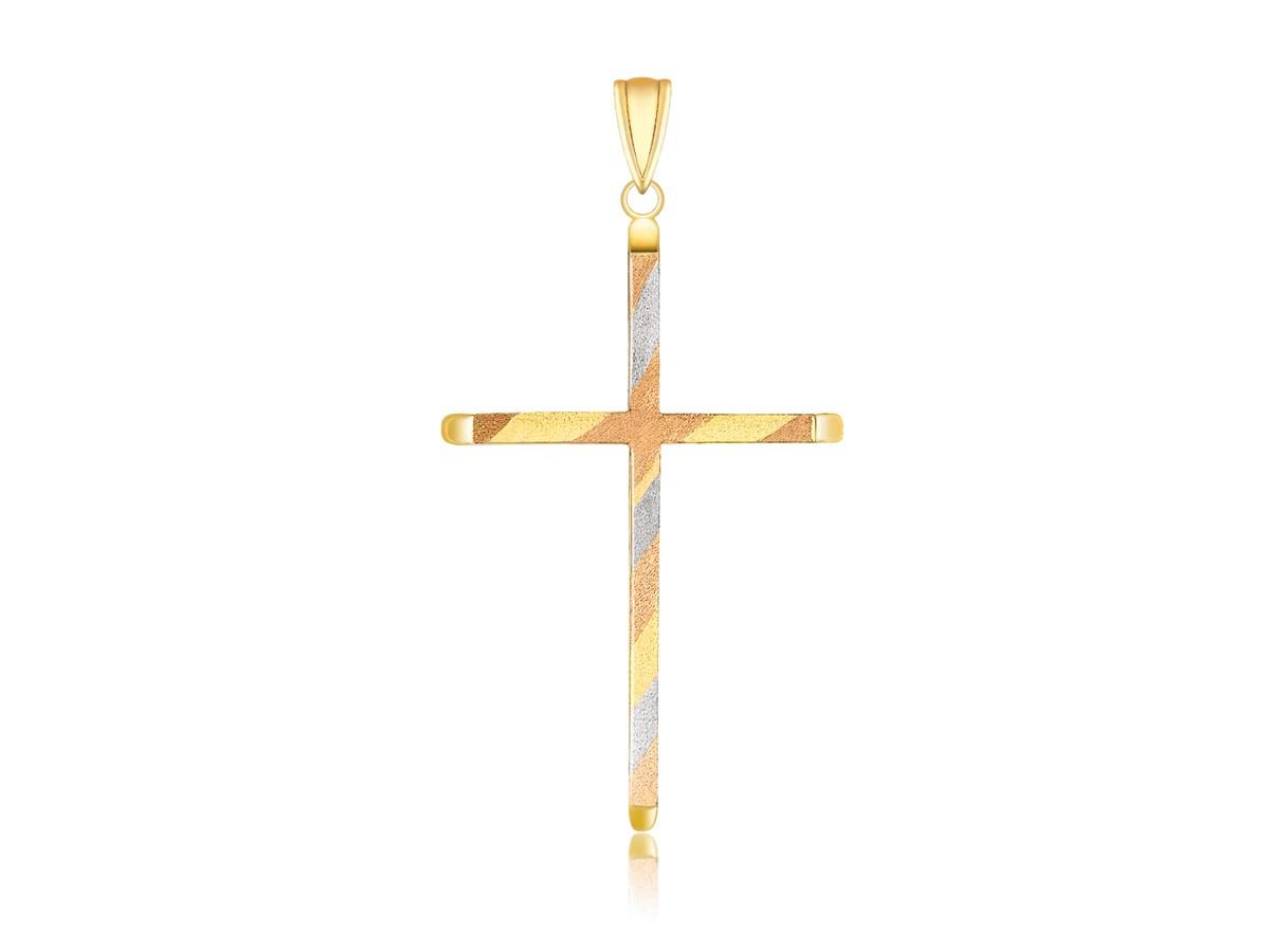 Diagonal Design Slim Cross Pendant In 14K Tri Color Gold