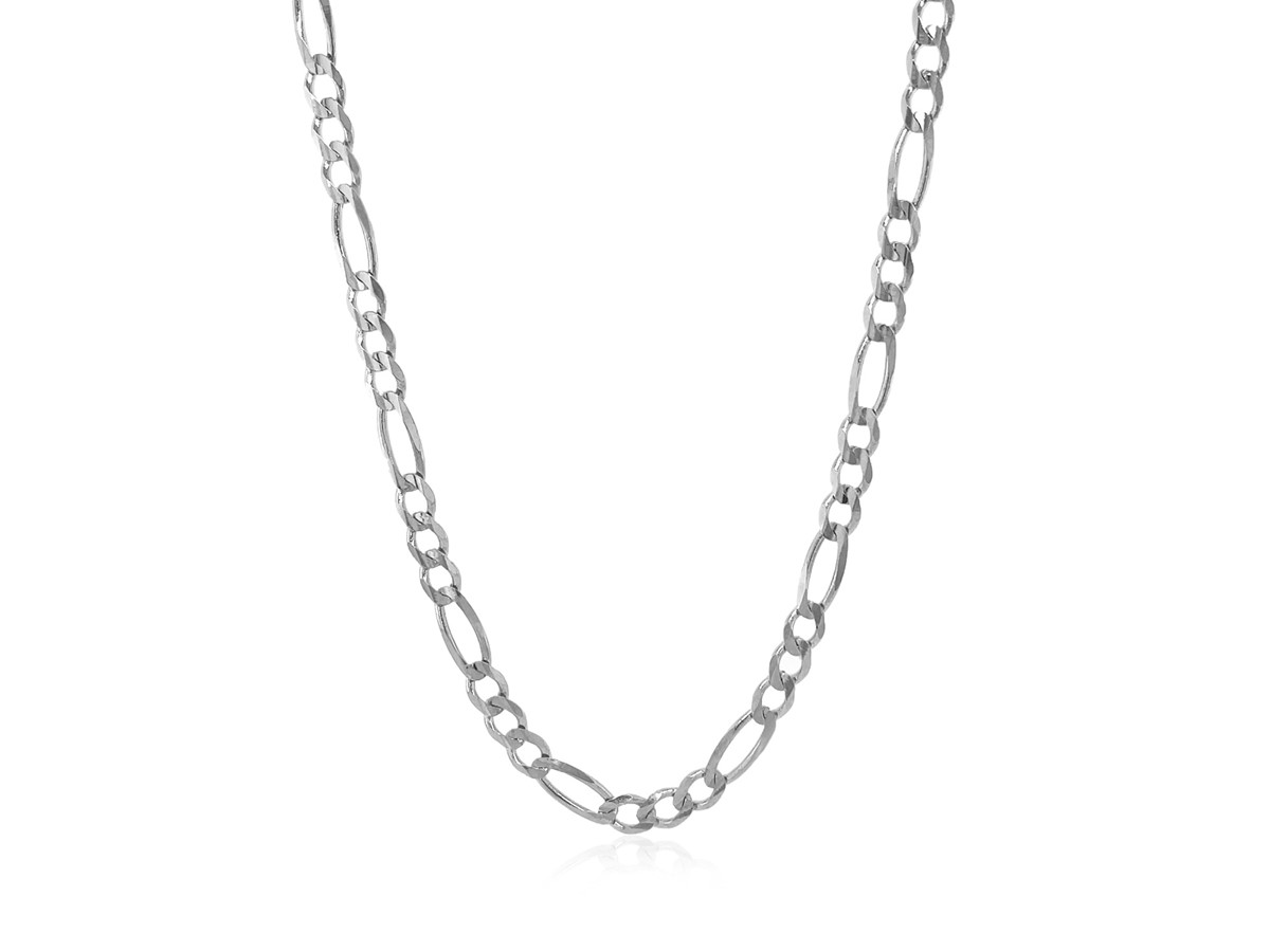 Solid Figaro Chain In 14k White Gold 38mm Richard