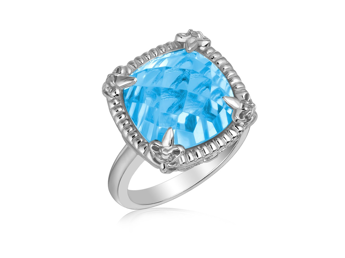 Sky Blue Topaz And White Sapphires Fleur De Lis Ring In Sterling Silver Richard Cannon Jewelry