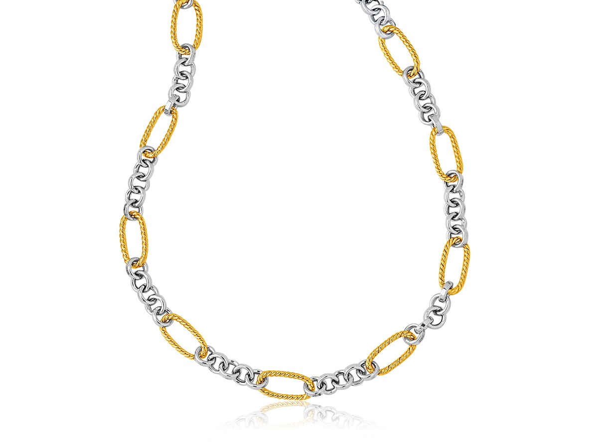 Round Link And Long Cable Necklace In 14k Two Tone Gold