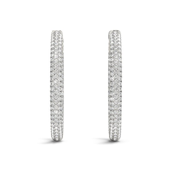 Double Sided Three Row Diamond Hoop Earrings In 14k White