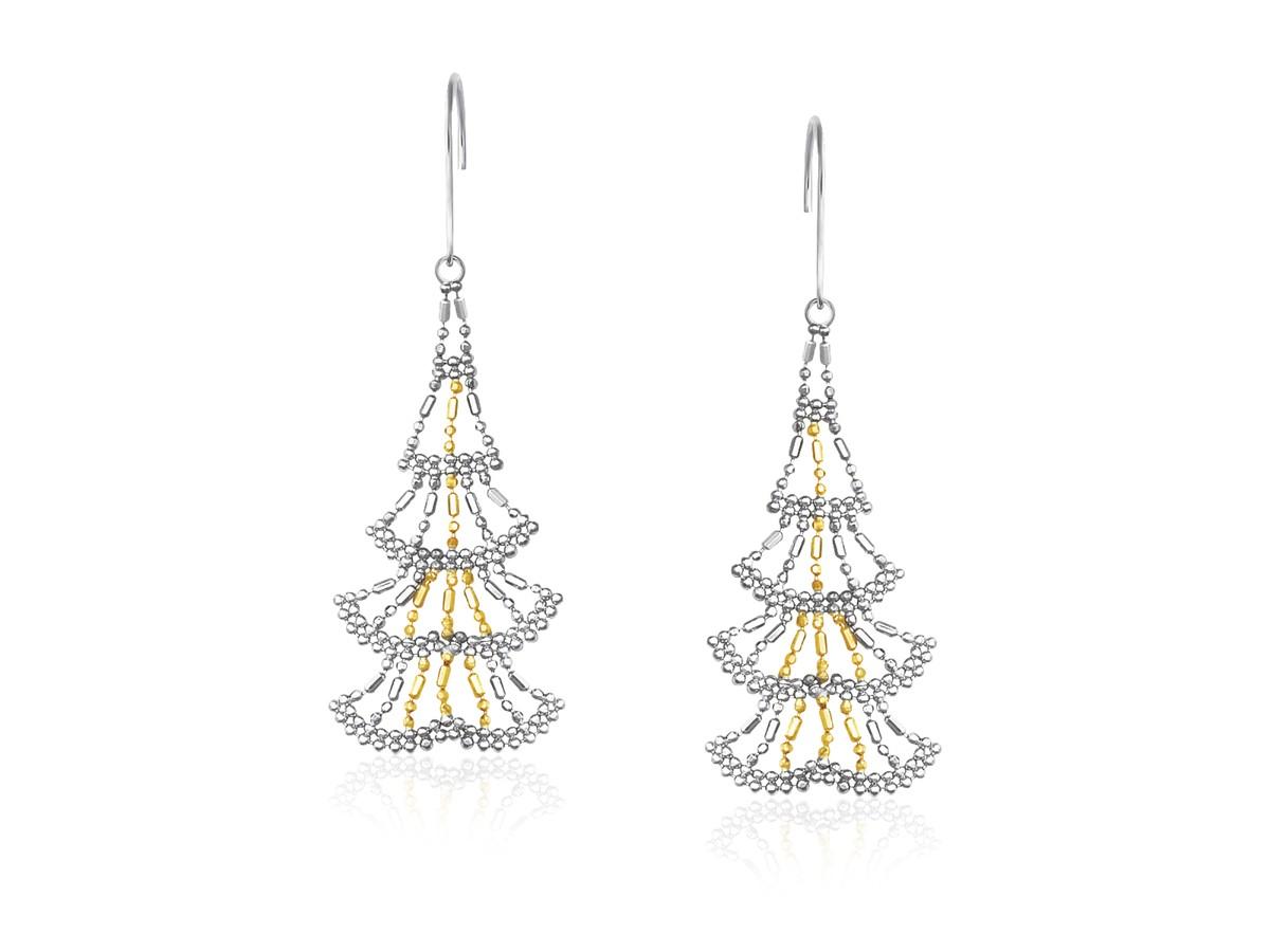 Linear Beaded Dangle Earrings In 14k Yellow Gold