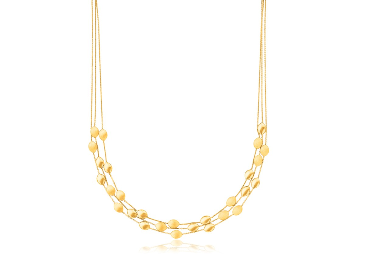Triple Strand Pebble Necklace In 14k Yellow Gold Richard