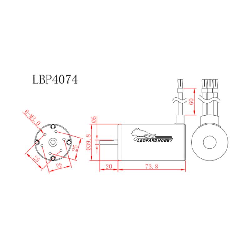 Leopard 4074 4-Pole Brushless Inrunner Motor 2200KV For 1