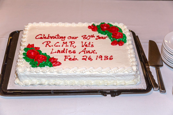 Photograph of the anniversary cake marking the 80th anniversary of the RCMP Vancouver Ladies Auxiliary (Source of photo - Sheldon Boles).