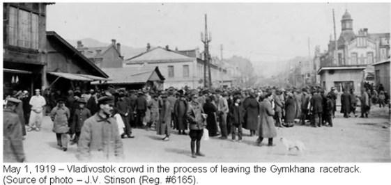 Photograph of Russian crowd leaving Vladivostok racetrack - Vladivostok Siberia May 1, 1919