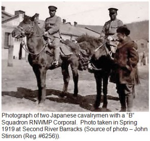 """Photograph of Japanese Cavalry & """"B"""" Squadron RNWMP member - 1919"""