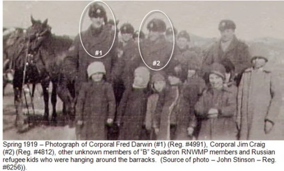 Photograph of Squadron members with refugee children - Second River Barracks - Vladivostok 1919