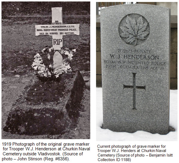 Photograph of Trooper William Henderson's original and current gravemarker