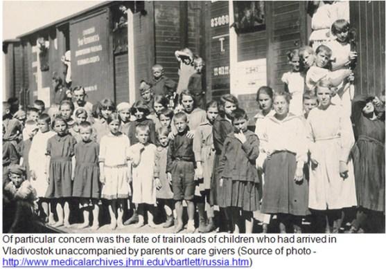 Photograph of refugee children disembarking train in Vladivostok Siberia.